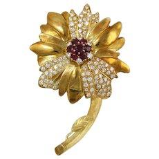 Vintage 18 Karat Yellow Gold Ruby and Diamond Flower Brooch