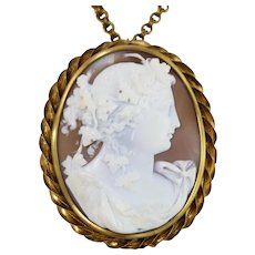 Vintage Large Gold-Filled Convertible Pendant / Brooch Cameo