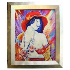 "Fine Oksana Grineva ""Northern Lights"" Colorful Nude Original Painting"