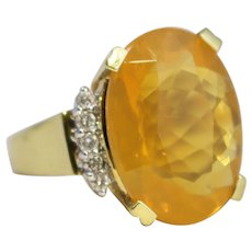 Stunning 18k Yellow Gold Fire Opal Oval Cocktail Ring