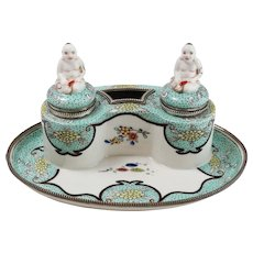 Stunning 19th Century Asian Hand-Painted Porcelain Inkwell