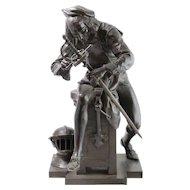 Antique c1885 Bronze Sculpture of Swordmaker Signed Gaudez