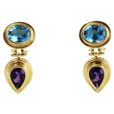 Pair of Stunning Vintage 14k Yellow Gold Amethyst and Blue Topaz Drop Earrings