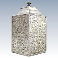 Antique Acid-Tested Sterling Silver Tea Caddy w Foliate Design