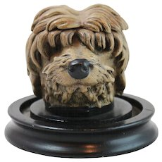 19th Century Austrian Cold Painted Bronze Shaggy Dog Inkwell with Base