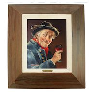 R. Gartner Man w Wine Glass Painting on Board