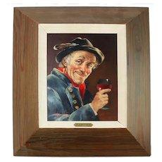 R. Gartner Man w Wine Glass Painting on Board