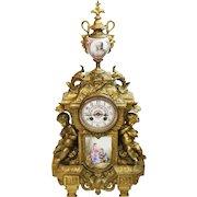 """Huge 22"""" Antique 19th Century Gilt Bronze & Porcelain Mantle Clock"""