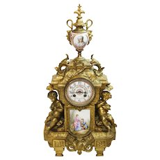 "Huge 22"" Antique 19th Century Gilt Bronze & Porcelain Mantle Clock"