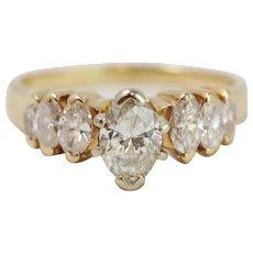 Vintage 14k Yellow Gold Marquise Diamond Ring