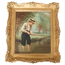 Antique William Holden Boy with Fishing Rod Oil Painting, 1848-1942