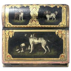 Antique Hand Painted Traveling Desk Hand Painted Royal Dogs With Gilt Border