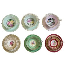 Set Of Six Hand Painted Fine Bone Porcelain Tea Cup And Saucers By Paragon By Appointment To The Queen