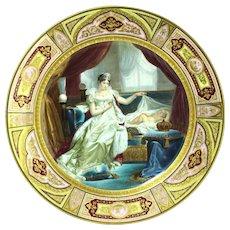 """Vienna Style Porcelain Charger """"Marie-Louise Et Le Roi De Rome Par Franque"""" 19th Century"""