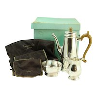 Vintage Tiffany & Company Coco Set With Cream And Sugar Bowl Wooden Handle Made In England With Original Box