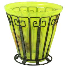 Lime Green Blow-Out Vase With Iron Cage Daum Nancy
