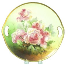 Hand Painted Pink Rose Blossom Plate Vienna