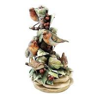 Vintage Borsato Birds On Branch Porcelain Figure