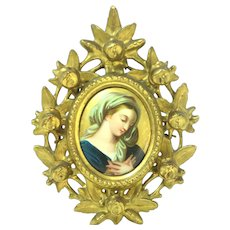 19th Century Florentine Frame European Handpainted Porcelain Plaque Of Young Woman