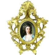 Hand Painted 19th Century Porcelain Plaque Young Lady With Florentine Frame