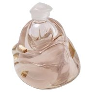 Vintage Signed Yoko Hirosawa Pale Pink Art Glass Perfume Bottle with Stopper
