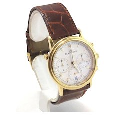 Rare 18k Yellow Gold BlancPain Split Second Mens Watch With Leather Band