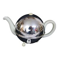 Vintage Hutschenreuther Footed Teapot With Hand Hammered Silver Plated Warmer Shell