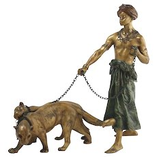 Austrian Cold Painted Bronze The lion Tamer Figurine GESCH