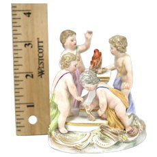 19th Century Hand Painted Meissen 4 Seasons Putte Figurine Grouping Rare Small Scale