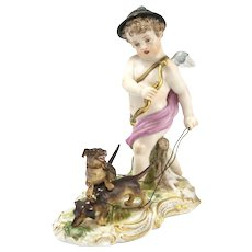 19th Century Meissen Cupid Figurine On The Hunt For Love