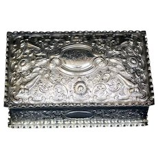 Antique English Embossed Floral Repousse Sterling Silver Glove/Jewlery Casket With Gilt Interior