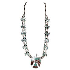 Native American Peyote/Water Bird Necklace Inlaid With Turquoise And Coral Chips Acid Tested Sterling Silver