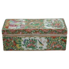 Antique Hand Painted Rose Medallion Double Sided Trinket Box With Lid 19th Century