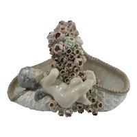 19th Century Porcelain Putte Floral Basket Hand Painted