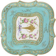19th Century Sèvres Porcelain Teal Green Platter With Beautiful Floral Boquet Design
