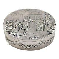 Antique Raised Folk Scene Relief European Silver Trinket Box With Gilt Interior