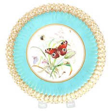 Butterfly and Insects Porcelain Plate w/ Scalloped Rim, Gold Accents, Signed