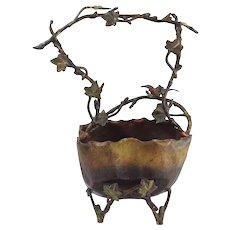 Antique Cold Painted Bronze Branches & Leaves Basket