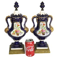 Pair Of European Hand Painted Floral Designed Lidded Ewer On Gilt Metal Base