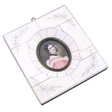 Hand Painted Miniature Portrait Of Young Woman In Bovine Bone Frame