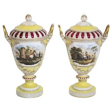 """Pair Of 19th Century Royal Berlin Rare Yellow And Deep Red Hand Painted Lidded Vases """"Off To Battle Scene"""""""
