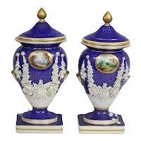 Sevres 19th Century Cobalt Blue And Gold With Raised Porcelain Floral Decoration Lidded Mantle Vases