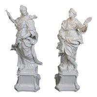 19th Century Capodimonte Pure White Beauty And Wisdom Large Figurines