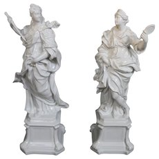19th Century Capodimonte Pure White Beauty And Wisdom Large Figurines