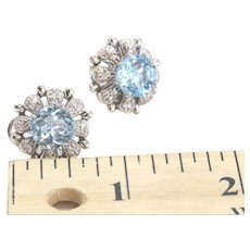 Large 14k White Gold Snowflake Earrings With Blue Topaz Center