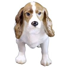 Vintage Hutschenreuther Brown and White Porcelain Dog Figurine