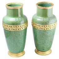 Pair of Beautiful Sarreguemines Swirled Green Crystalline Glaze Art Pottery Vase