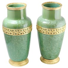 Pair of Beautiful Sarreguemines Swirled Green Crystalline Glaze Art Pottery Vase