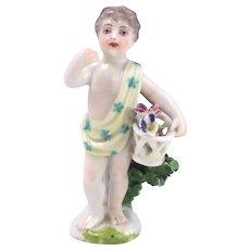 Vintage 19th Century Chelsa English Porcelain Miniature Boy Figurine