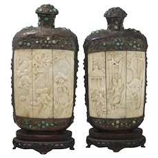 Pair Of Large Asian Perfume Decanters Carved Bone Panels Hardstone Inlay Beads